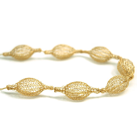 7 Crocheted gold filled organic pod necklace , unique handmade wire crochet jewelry - Yooladesign