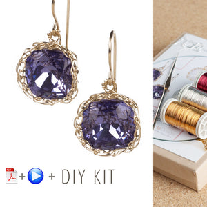 DIY Vintage Earrings Kit, DIY jewelry , Tools and Supply , ISK starter , Video Tutorial, Swarovski dangle earrings - Yooladesign