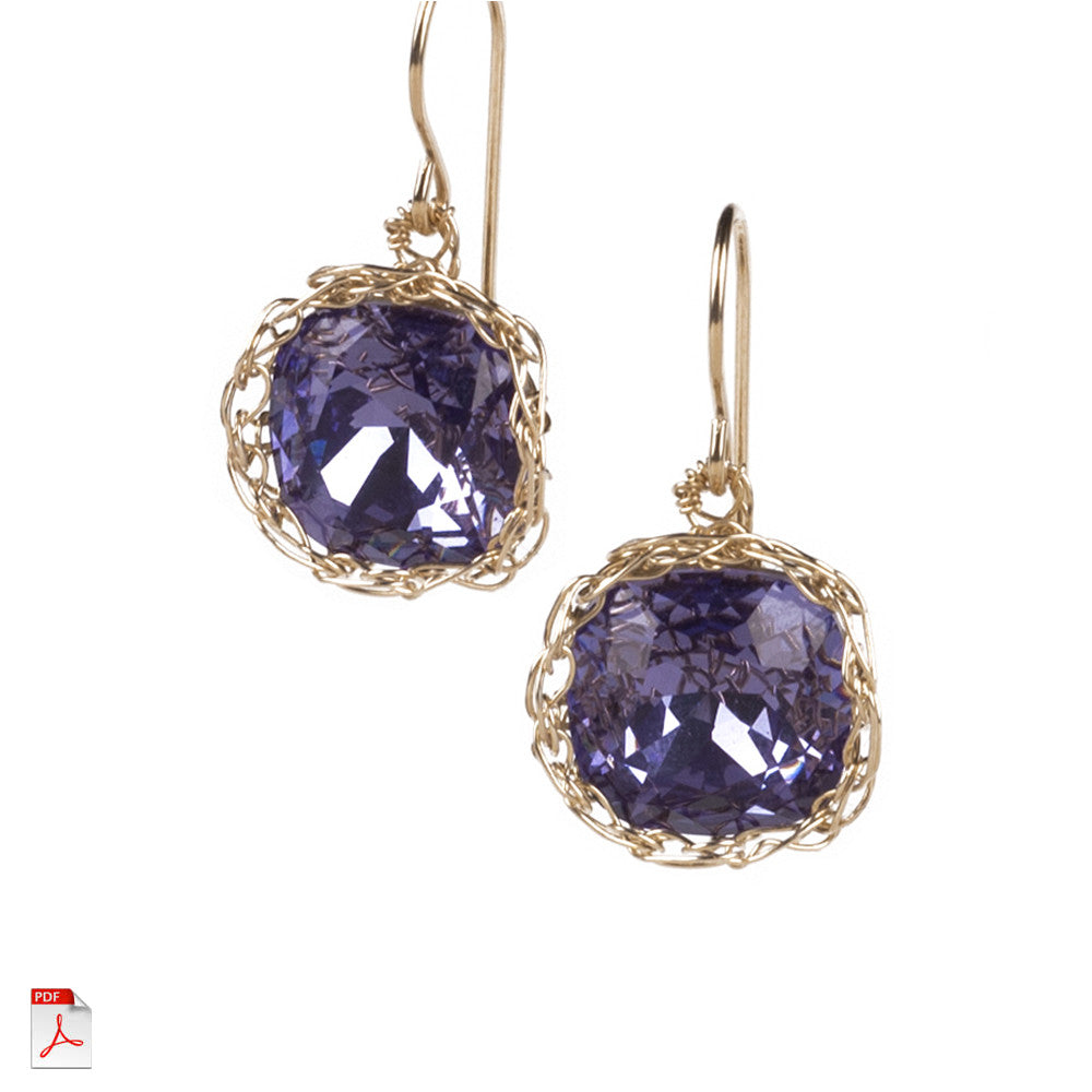 Crystal earrings PDF pattern, Jewelry lesson, how to crochet wire ...