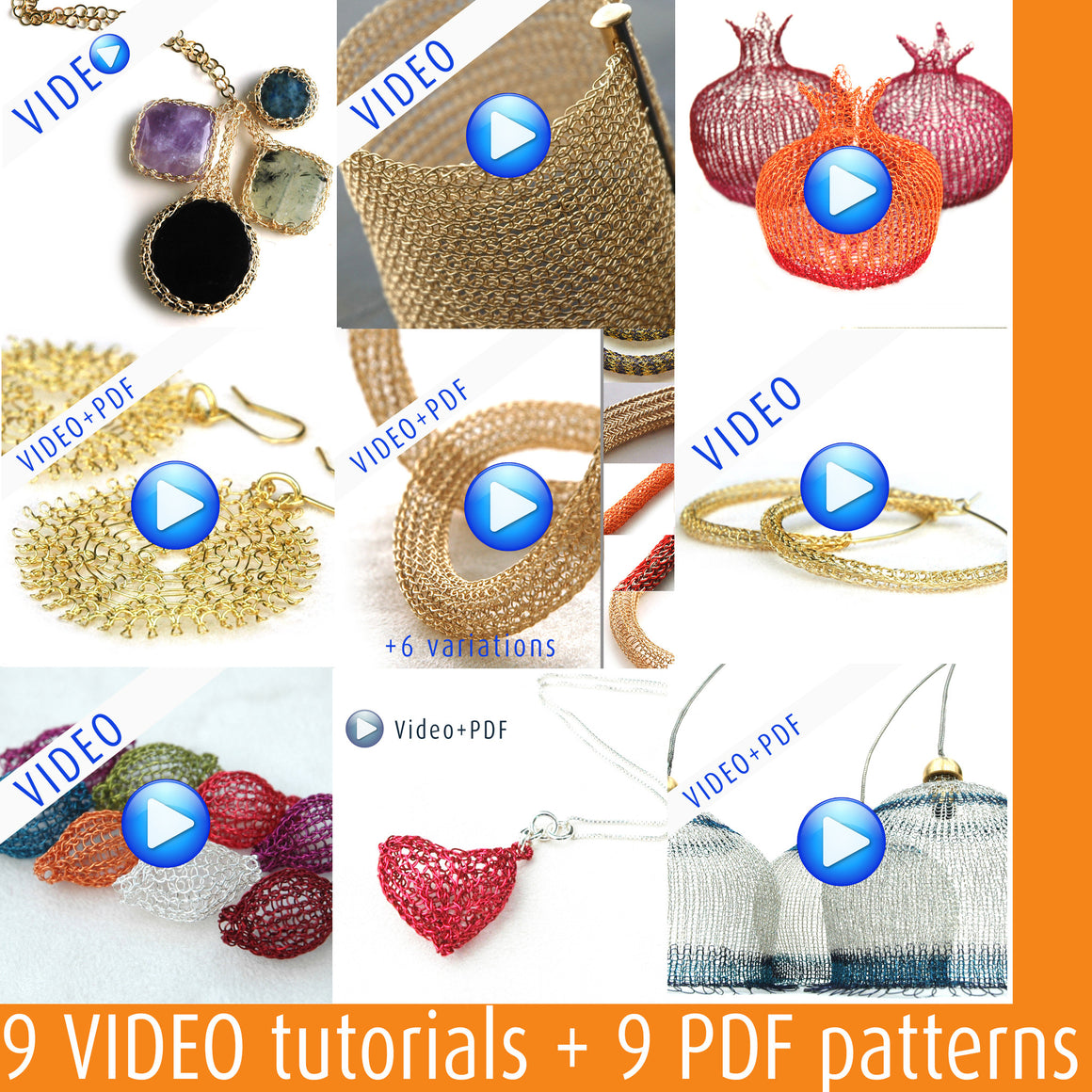 video tutorials and wire crochet patterns PDF  combination - Yooladesign