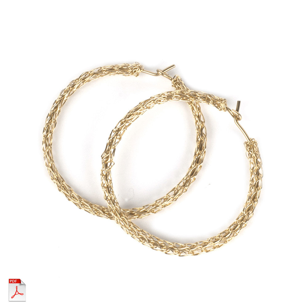 How to crochet unique hoop earrings , a wire crochet PDF tutorial ...