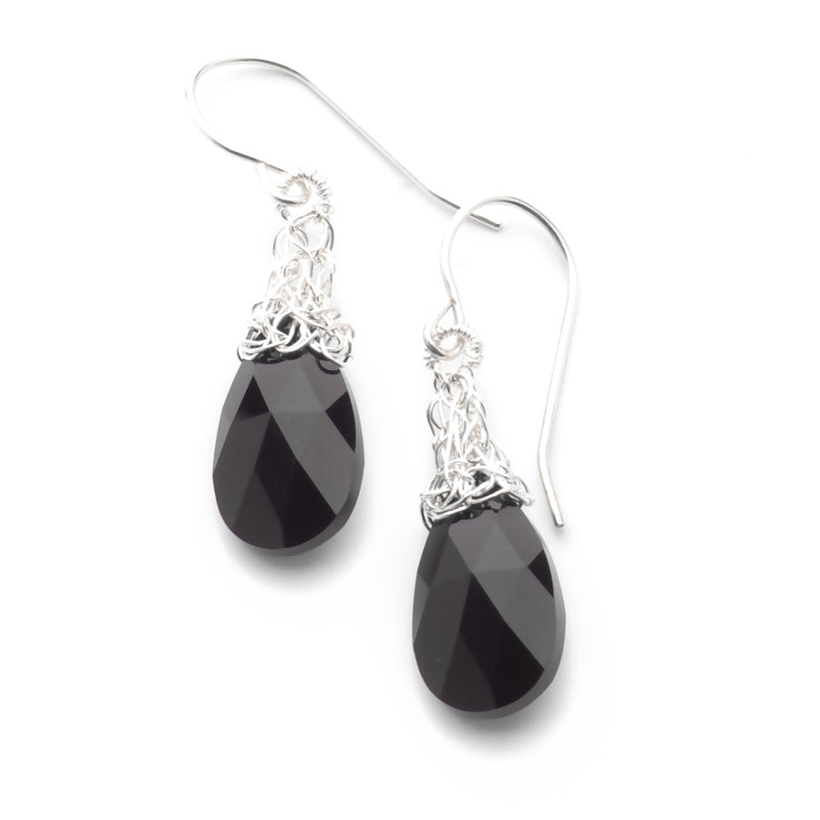 Yoola Black Onyx & Silver Crystal Earrings - Yooladesign
