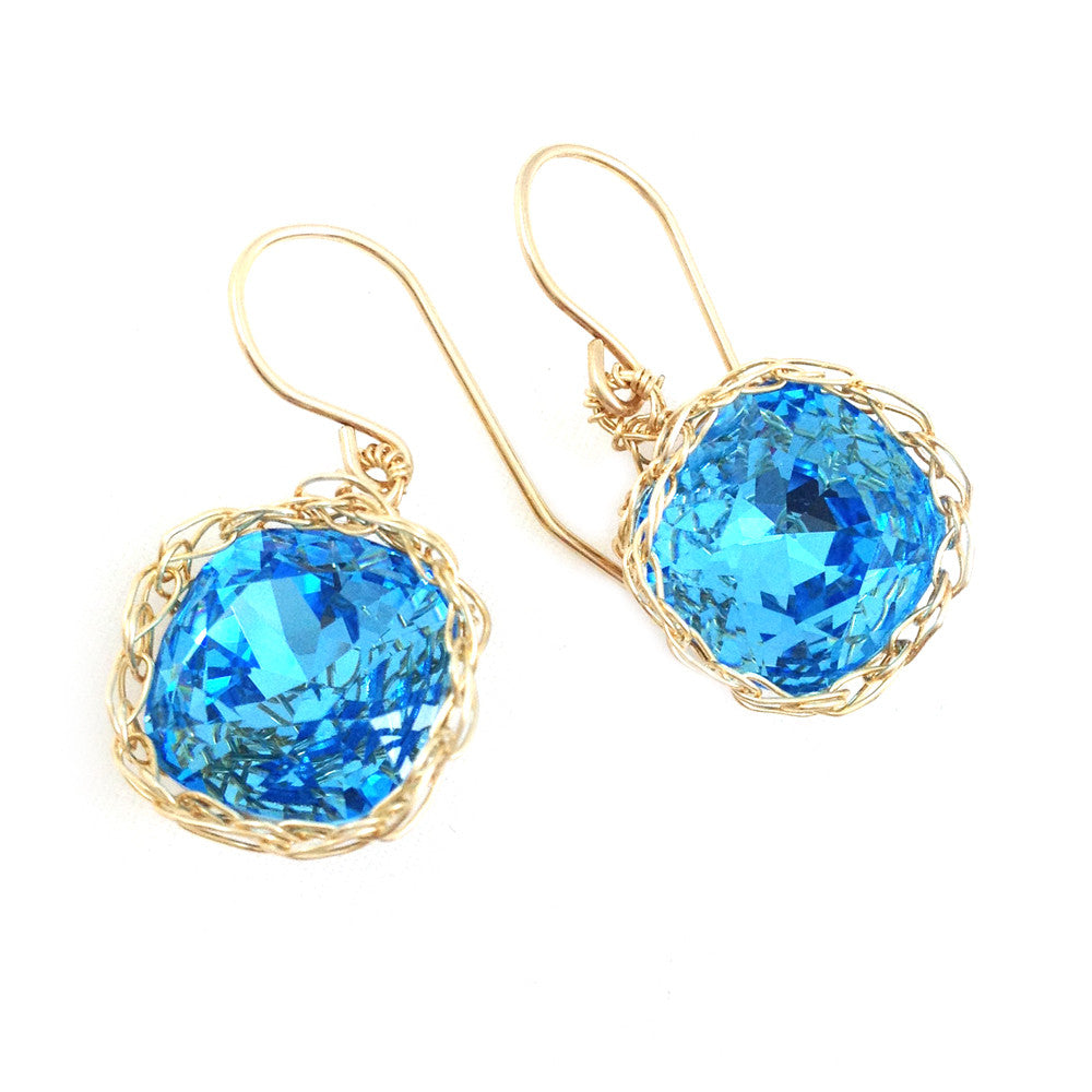 Baby blue Swarovski glass crystal earrings , light blue dangle earrings in gold filled , perfect something blue - Yooladesign