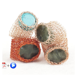BOHO Stone ring - Wire Jewelry VIDEO pattern - Yooladesign