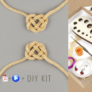 BOLD celtic heart necklace wire crochet DIY KIT - Yooladesign