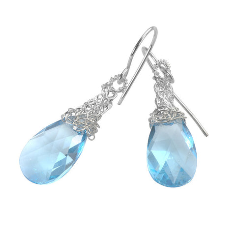Baby blue Crystal Earrings, silver dangle Swarovski earrings - Yooladesign