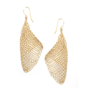 CALLA gold wire crochet earrings , long elegant crocheted earrings - Yooladesign