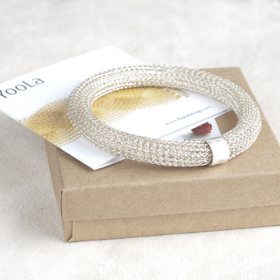 Chunky Sterling silver Bangle bracelet , Wire Crochet Bracelet - Yooladesign