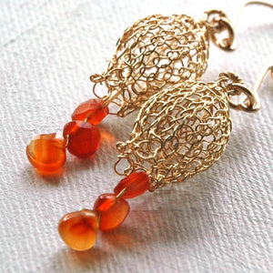 Dangle wire crocheted earrings, Pomegranate earrings - Yooladesign