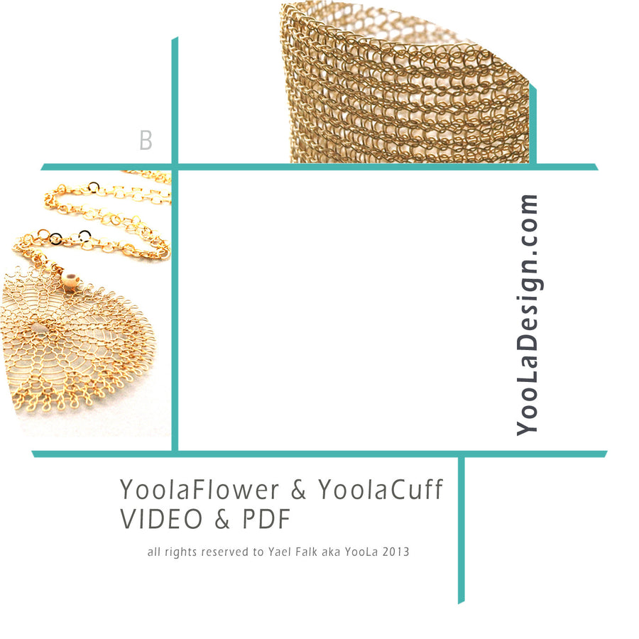"Yoola ""Ruby"" Kit - Wire Crochet Tutorials and Supplies - Flower, Cuff - Yooladesign"
