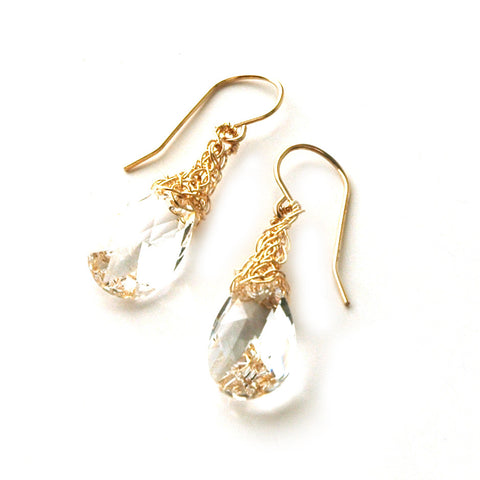 Clear Crystal Earrings, Gold Filled clear Swarovski - Yooladesign