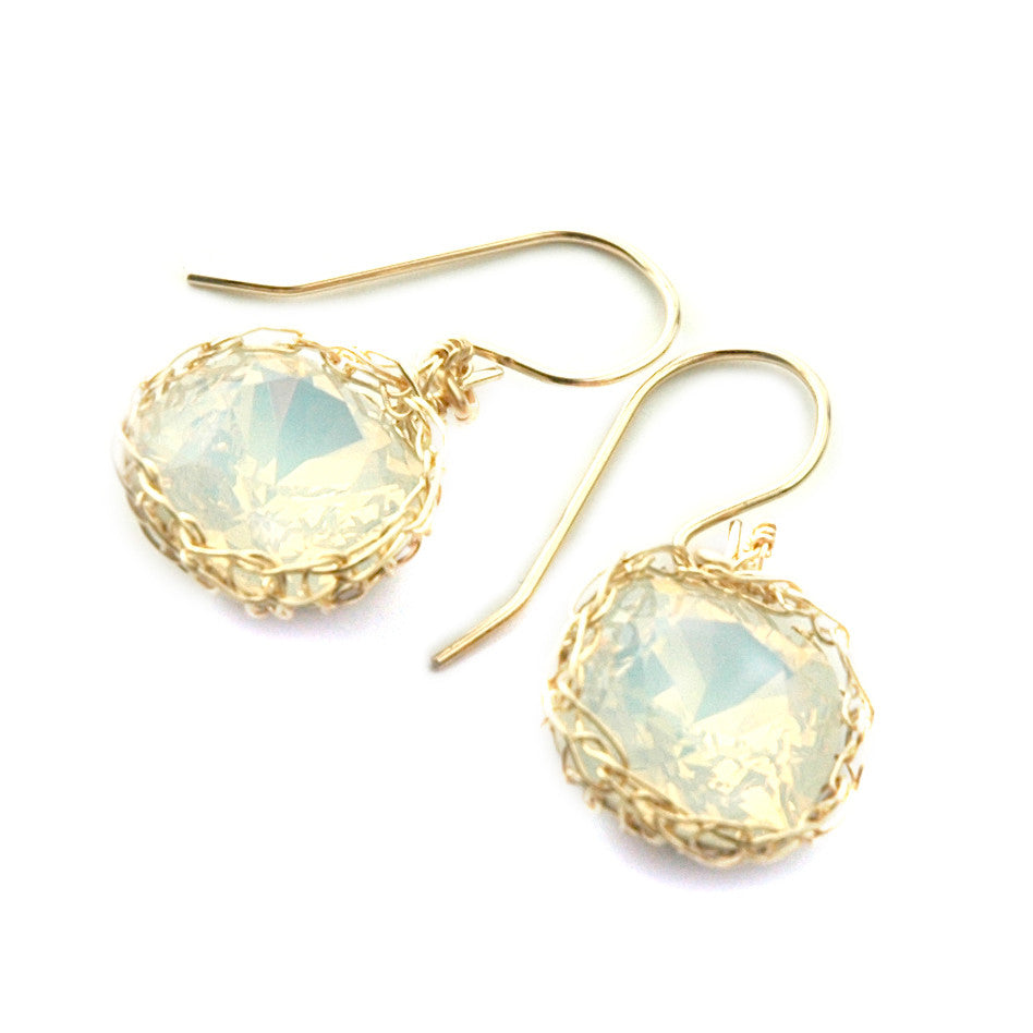 White opal Swarovski glass crystal earrings , wire crochet dangle earrings in gold filled - Yooladesign