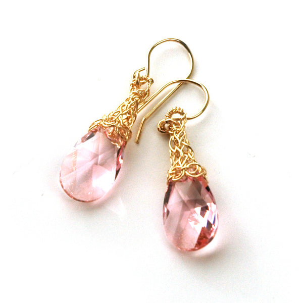 Wire Crochet Earrings - Rose Swarovski Earrings - Gold Filled Pink Earrings - Yooladesign