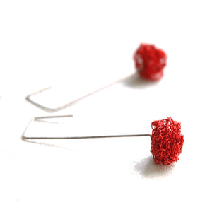 Cube RED earrings - Wire Crochet Earrings - Modern Jewelry - Geometric Earrings - Urban Fashion - Yooladesign