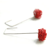 RED cube Crochet Earrings tutorial - PDF and video pattern, Wire crochet tutorial , Jewelry making