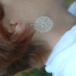 Large Silver Flower Earrings , Wire Crochet Jewelry , Handmade ,  Feather Light - Yooladesign