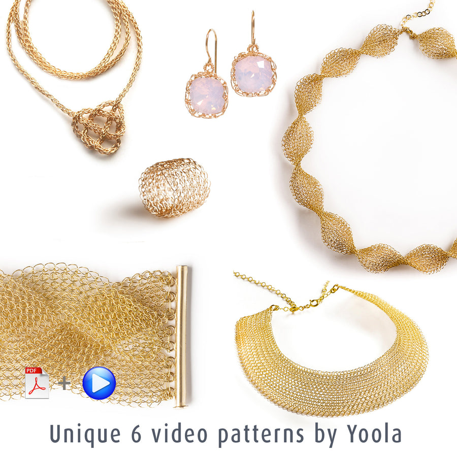 NEW vol 2 Extended Wire Crochet patterns combination - VIDEO plus PDF patterns - step by step - Instant digital download -  Mesh jewelry instructions - Yooladesign