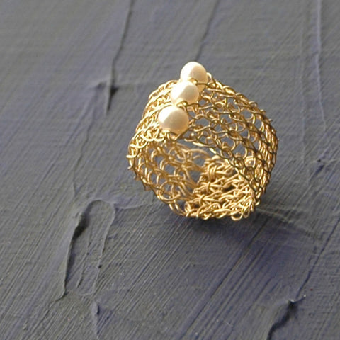 Pearl Ring , Wire Crochet Jewelry , Pearl Jewelry , Gold Filled , Water Pearl - Yooladesign