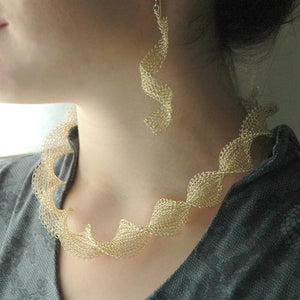 Infinity gold wire crochet earrings , long elegant knitted wire - Yooladesign