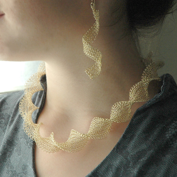 Infinity gold wire crochet earrings , long elegant knitted wire   Yooladesign