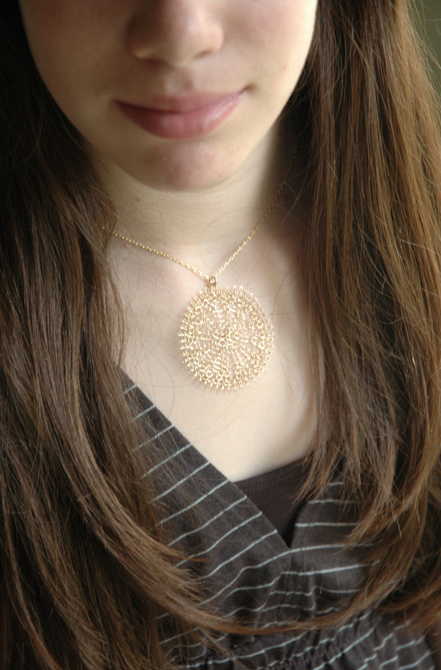 Large Sunflower pendant necklace , wire crocheted flower , gold filled - Yooladesign