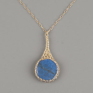 Blue Lapis lazuli pendant necklace wire crocheted in gold wire - Yooladesign