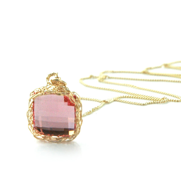 Pink Square Swarovski Crystal Gold Necklace , wire crochet , handmade , jewlery set , bridesmaids gift - Yooladesign
