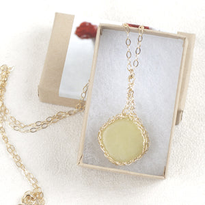 Rectabgle Olive Jade Pendant necklace in gold - Yooladesign