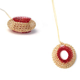 Red Dot Pendant Necklace , Gold and Red Pendant , Wire Crochet Jewelry - Yooladesign