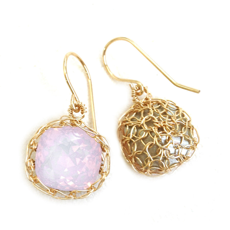 Pink Swarovski glass crystal earrings , wire crochet dangle gold earrings - Yooladesign