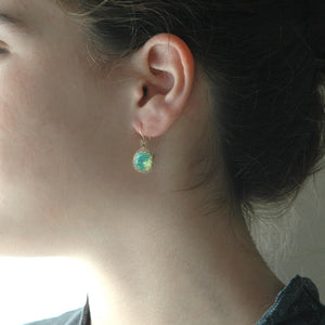 Ocean green Swarovski glass crystal earrings , mint dangle earrings in gold filled - Yooladesign