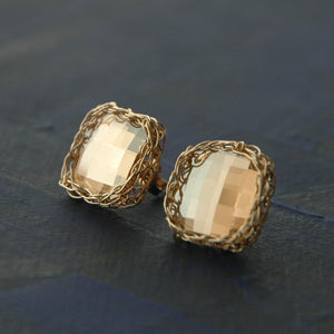 Post Earrings , Amber geometric earrings - Yooladesign