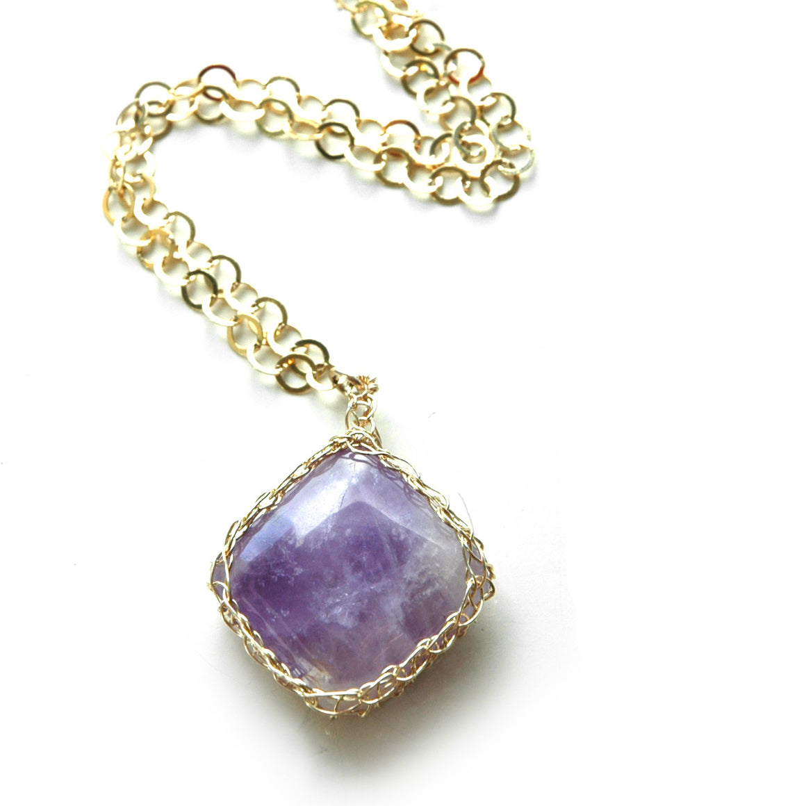 Rectangle Amethyst Pendant necklace in gold - Yooladesign