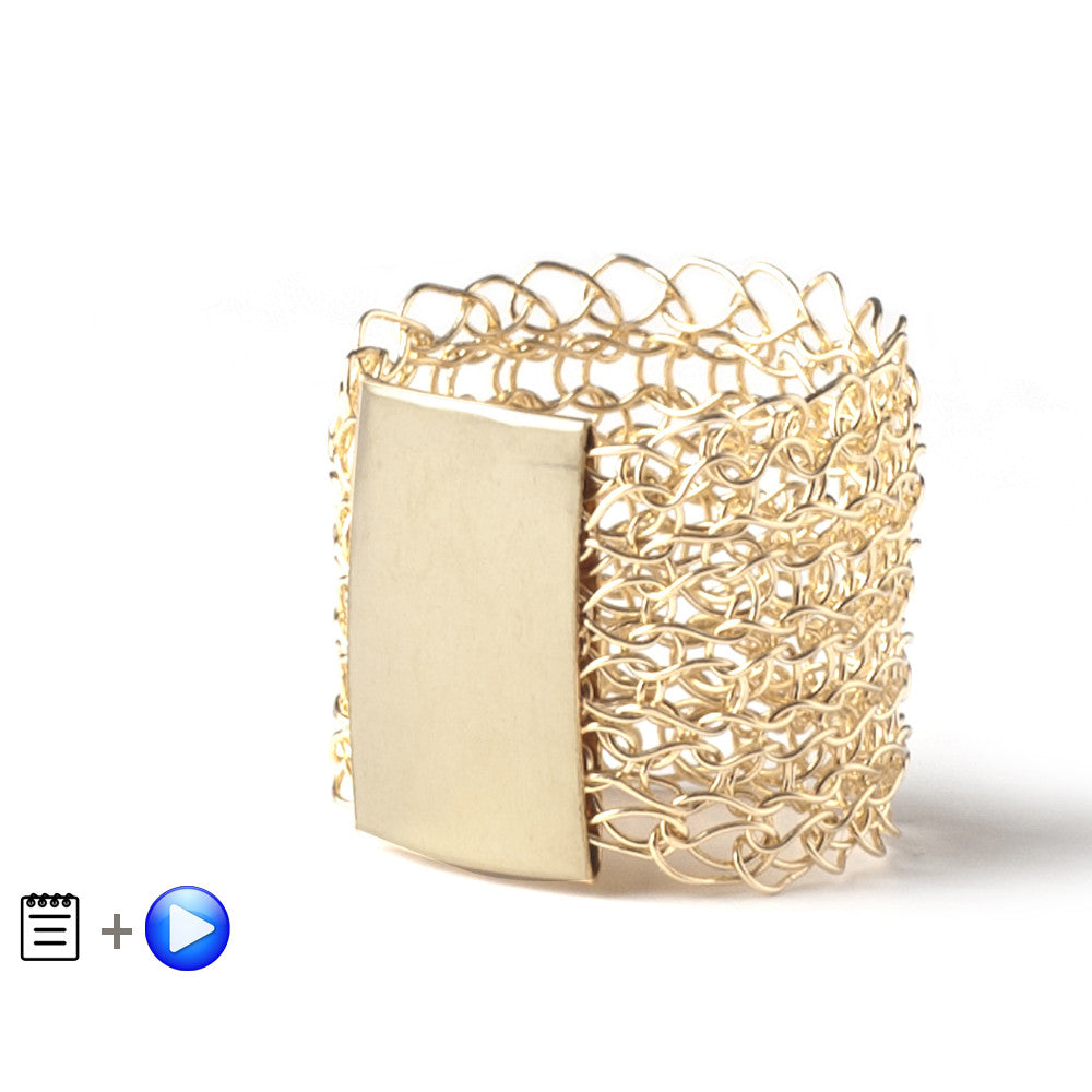 Gold Stamp Ring - Recipe - Partial wire crochet pattern - Yooladesign