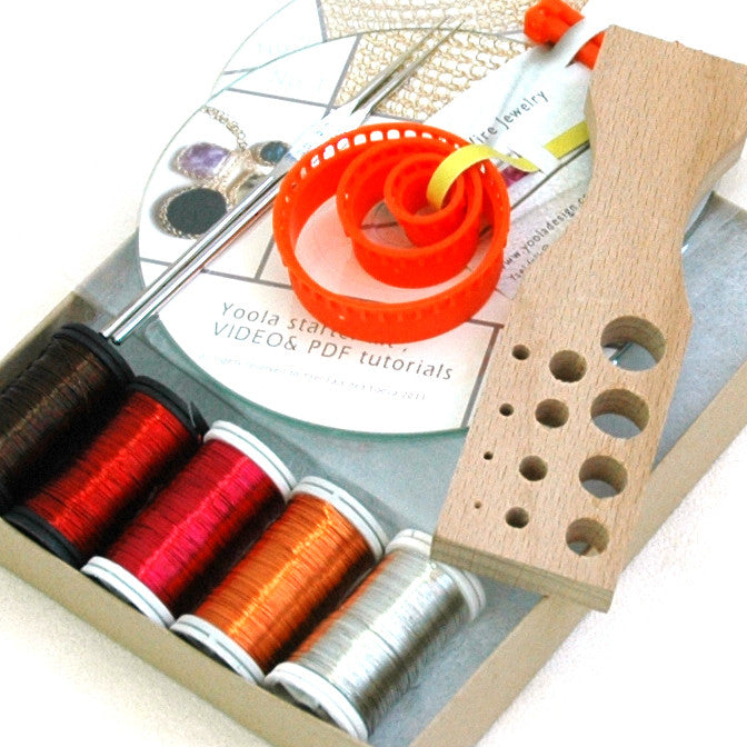 Wire crochet starter kit , video tutorials , supply and tools - Yooladesign