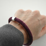 Chocolate Brown Chunky Bangle bracelet , Wire Crochet Bracelet with a Sterling tube bead - Yooladesign