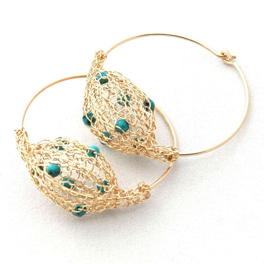 Gold Hoop Earrings - Turquoise Stones - Yooladesign