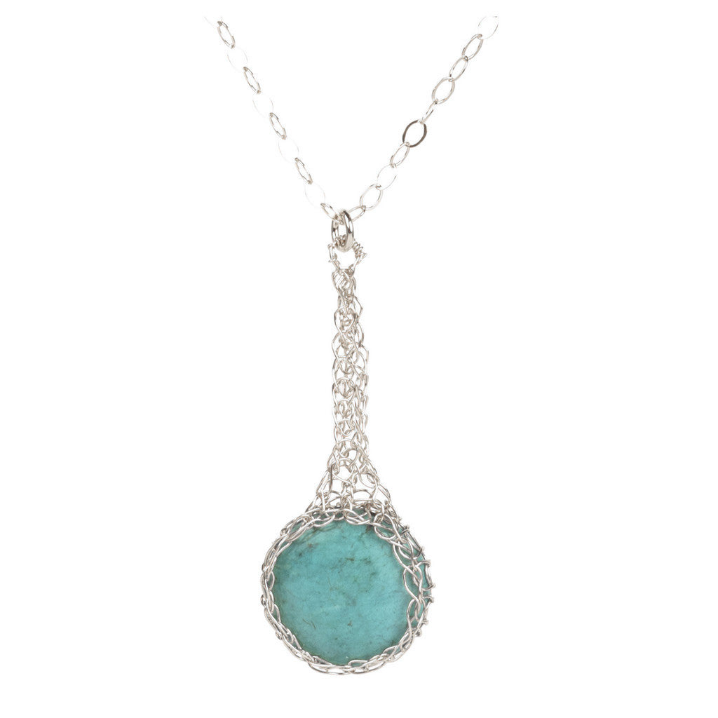 Turquoise pendant necklace , small turquoise coin crocheted in SILVER - Yooladesign