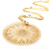 XL Sunflower pendant necklace , wire crocheted flower - Yooladesign