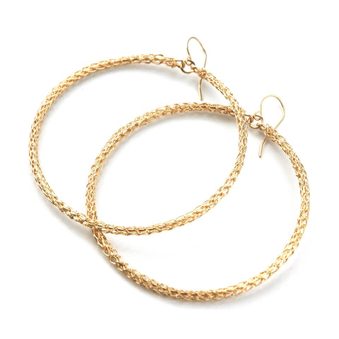 Salsa Gold Hoop Earrings , Wire Crochet Jewelry , Gypsy Soul , Fashion Jewelry - Yooladesign
