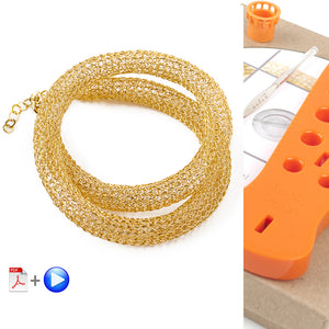 How to wire crochet a long necklaces , video tutorial , supply and tools for making YoolaTube necklace - Yooladesign