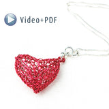 How to crochet a heart , bubble metal knitted heart, VIDEO tutorial - Yooladesign