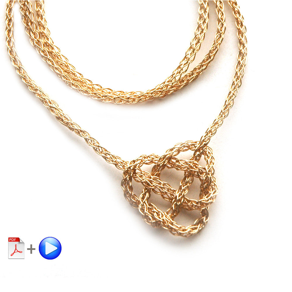 Wire Crochet Necklace - Celtic Heart Knot Necklace, a wire crochet Video and PDF tutorial by Yoola - Yooladesign