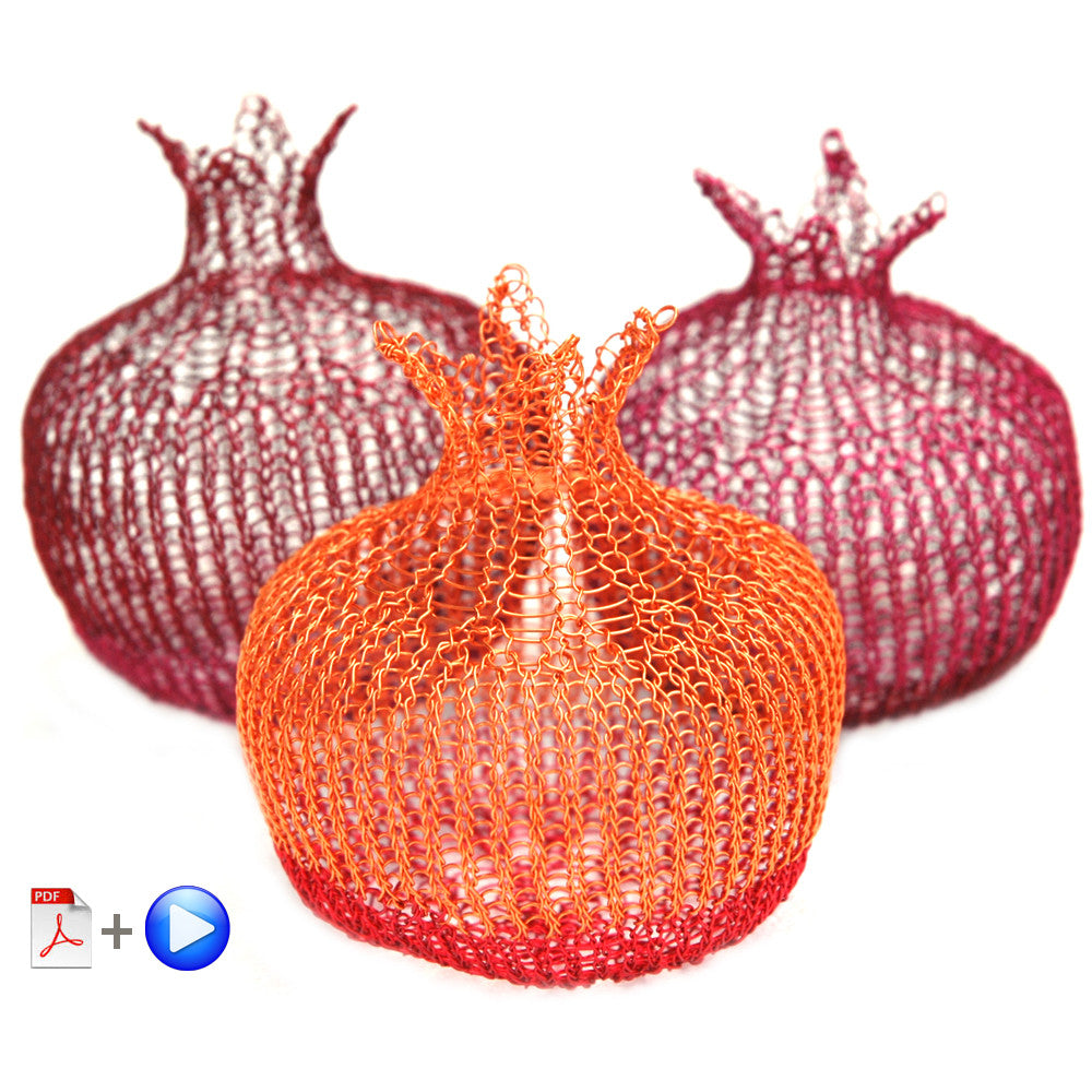 Crochet a decorative wire pomegranate , wire crochet home accent video tutorial - Yooladesign
