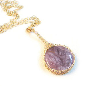 Amethyst necklace , pendant charm necklace - Yooladesign