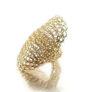 Cleopatra gold ring , wire crochet yellow gold filled ring - Yooladesign
