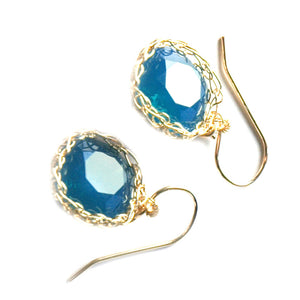 Turquoise Swarovski glass crystal earrings , wire crochet dangle earrings in gold filled - Yooladesign