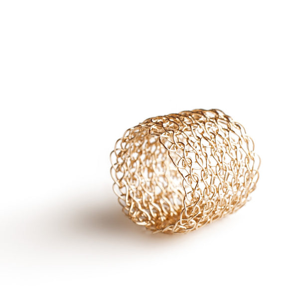 Wire crocheted band ring , yellow gold filled - Yooladesign