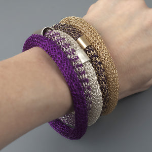 Chunky Bangle bracelet , Wire Crochet Bracelet with a tube bead - Yooladesign