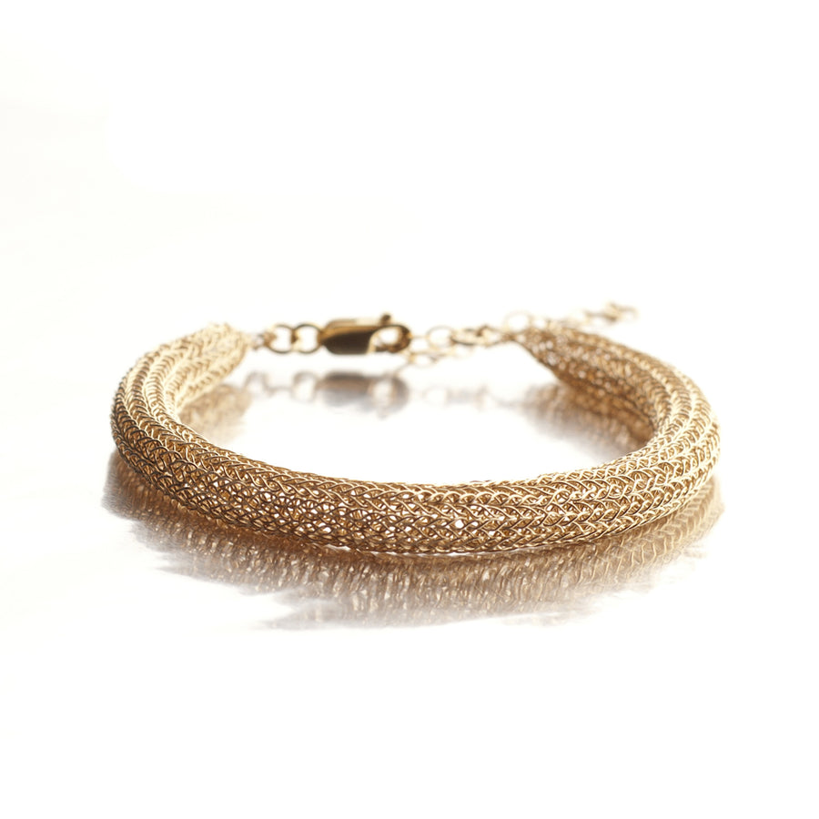 Chunky tube bangle bracelet Ethnic knitted bangle - Yooladesign